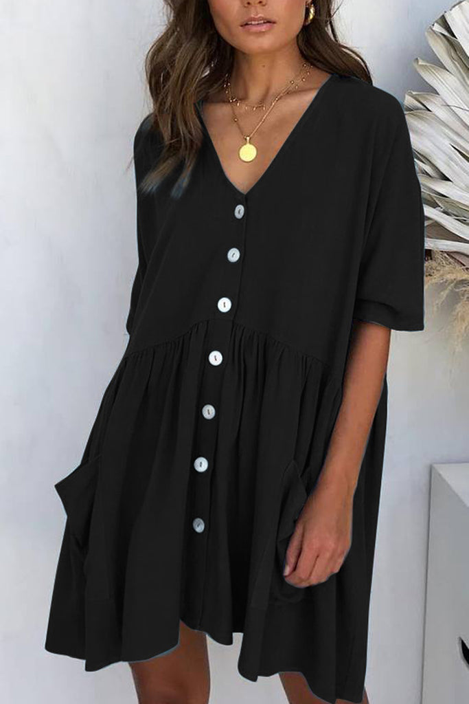Solid V-Neck Button Pocket Mini Dress