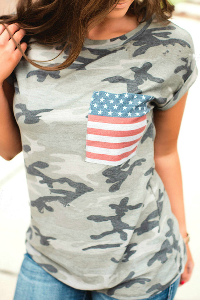 American Flag & Camouflage Print T-Shirt