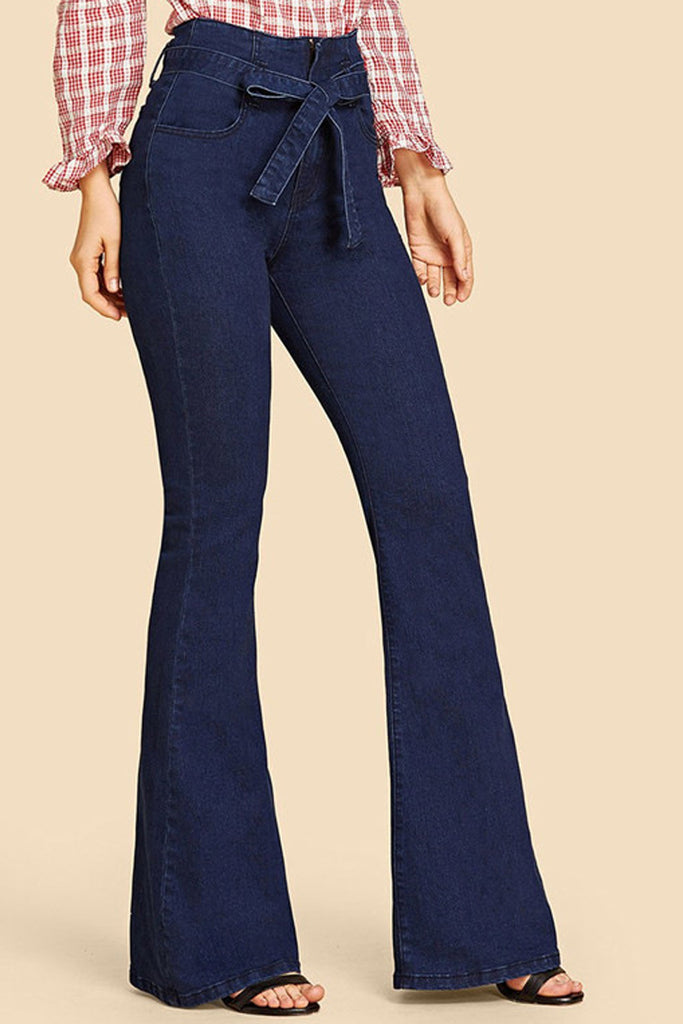 High Waist Belted Denim Flare Pants