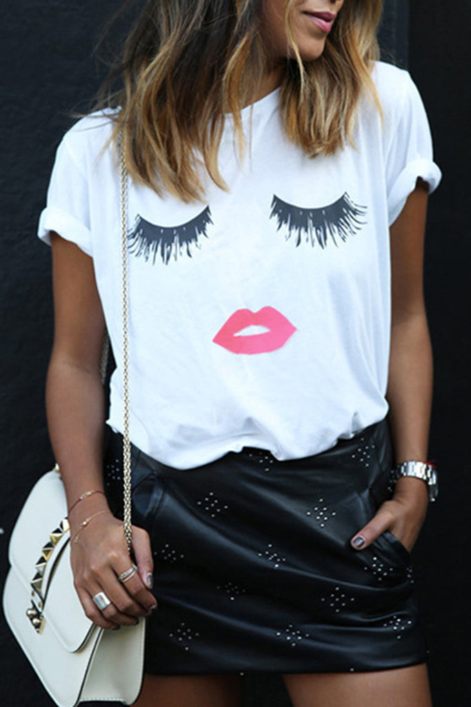 Casual Plus Size Lip Print Short Sleeve T Shirt