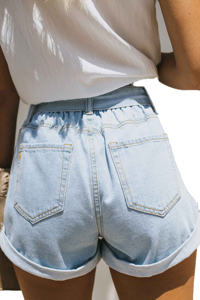 Denim Solid Color Tie Neck Beading Shorts
