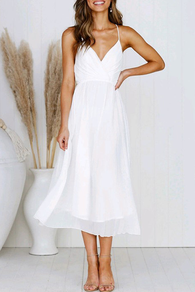 Halter V-Neck Ruched Open Back Midi Dress