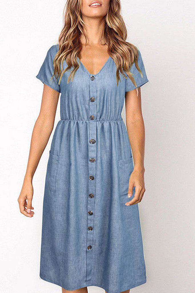 Denim Button Up Pocket Midi Dress