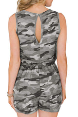 Camouflage Printed Drawstring Waist Romper