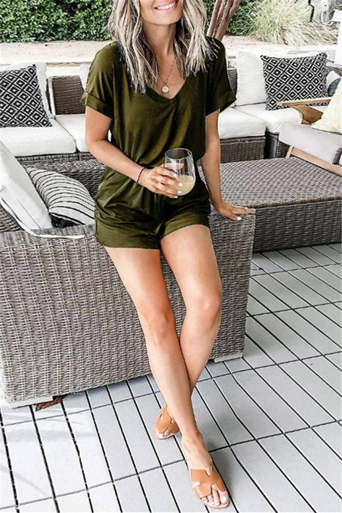 V Neck Solid Color Casual Romper