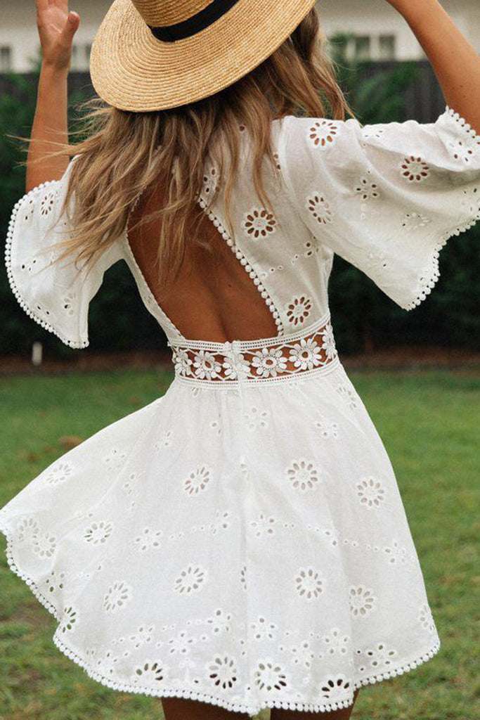 Pierced Open Back Tassel Mini Dress