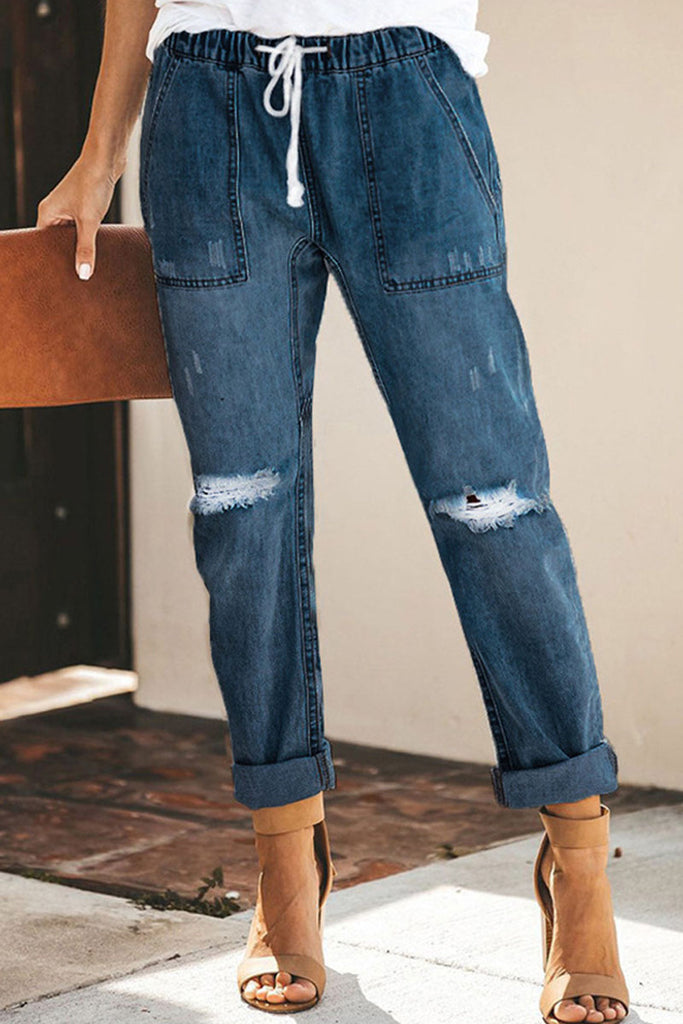 Denim Drawstring Waist Hole Distressed Pants