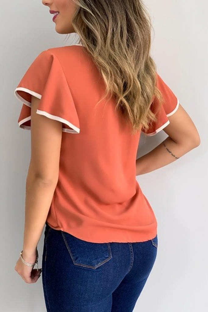 Solid Color Patchwork Ruffle Sleeve Top