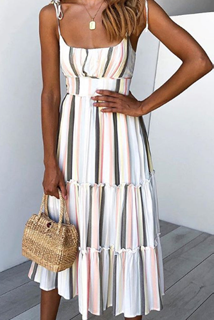 Halter Stripe Printed Beading Midi Dress