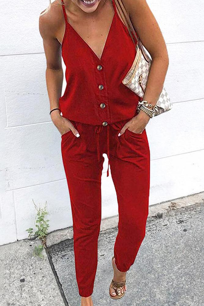 Spaghetti Straps Solid Color Drawstring Jumpsuit