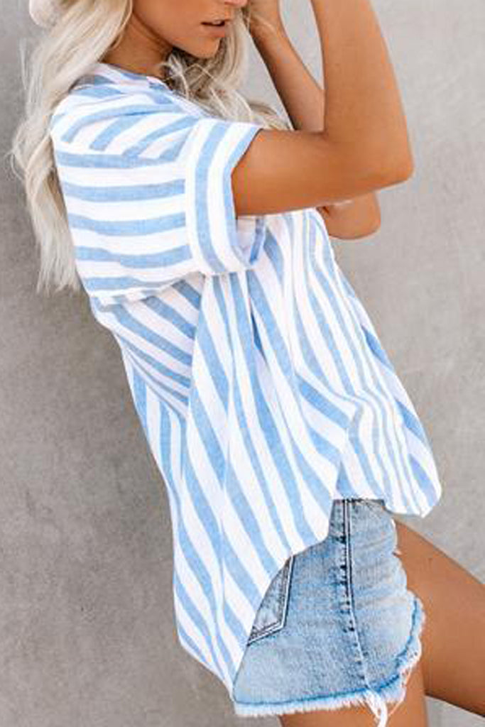 Striped Lapel Short Sleeve Blouse