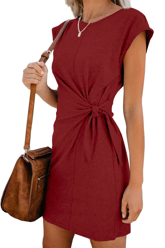 Tie Up Solid Color Mini Dress