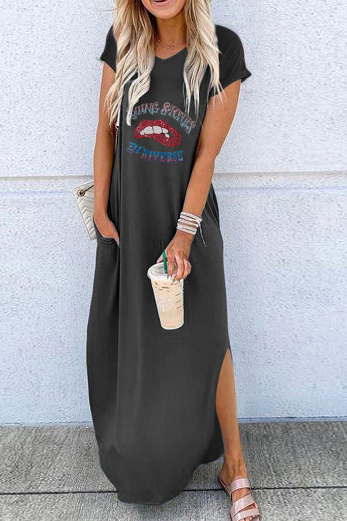 Lip Print Side Slit Pocket Casual Maxi Dress
