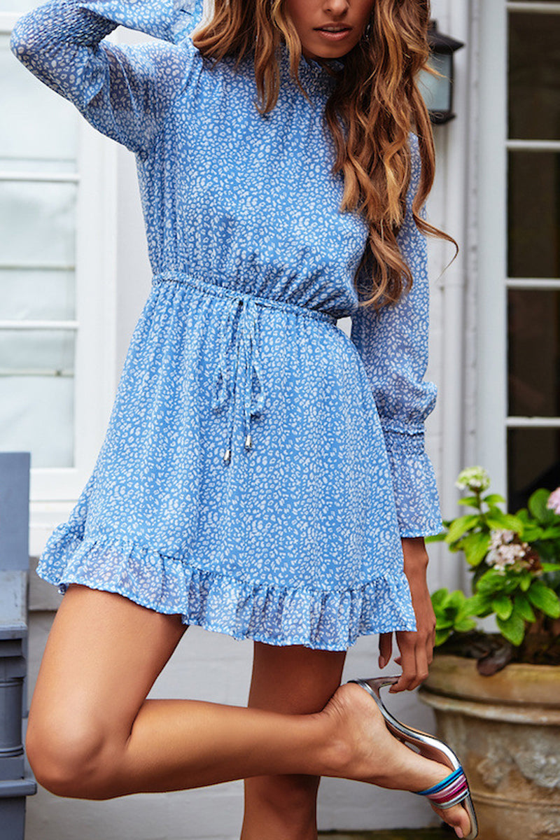 Printed Drawstring Waist Ruched Mini Dress