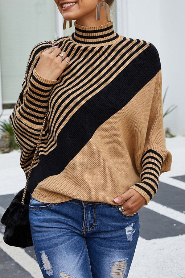 Turtleneck Bat Sleeve Diagonal Stripe Sweater