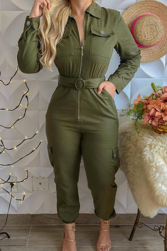 Solid Color Zipper Pocket Belted Jumpsuit