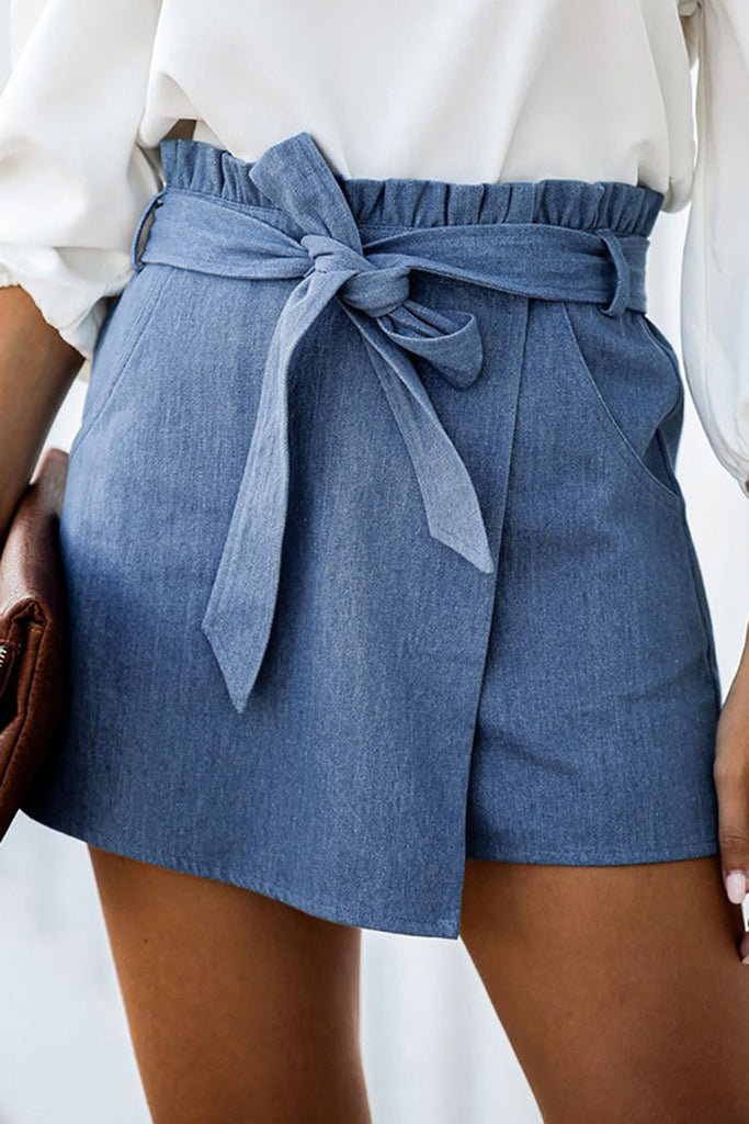 Denim Belted Ruffle Asymmetric Shorts