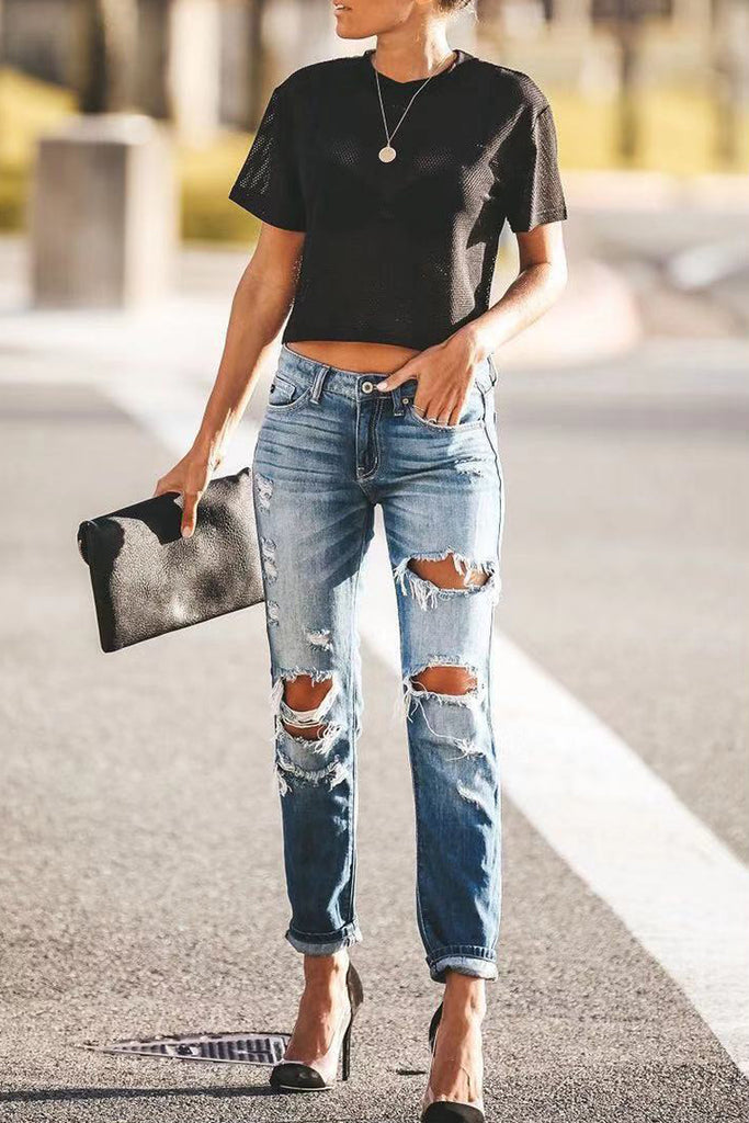 Denim Hole Distressed Casual Jeans