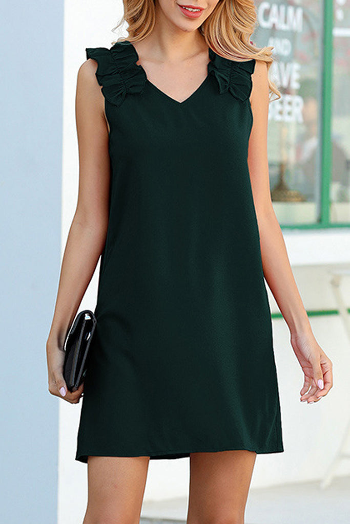 Solid Color Shoulder Pleated Mini Dress