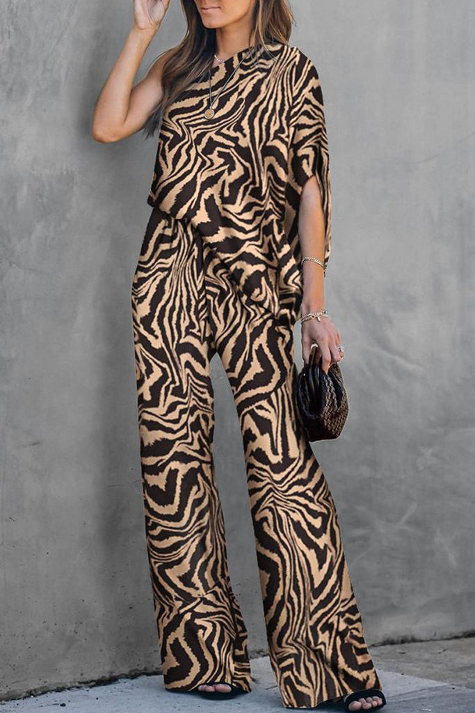 Elegant Print One Shoulder Jumpsuit
