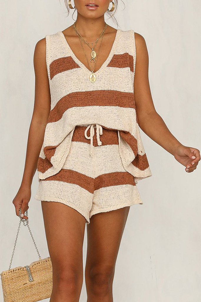 Striped Knitted Drawstring Plus Size Two Piece Sets