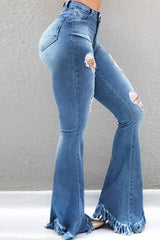 Denim Hole Tassel High Waist Flare Jeans