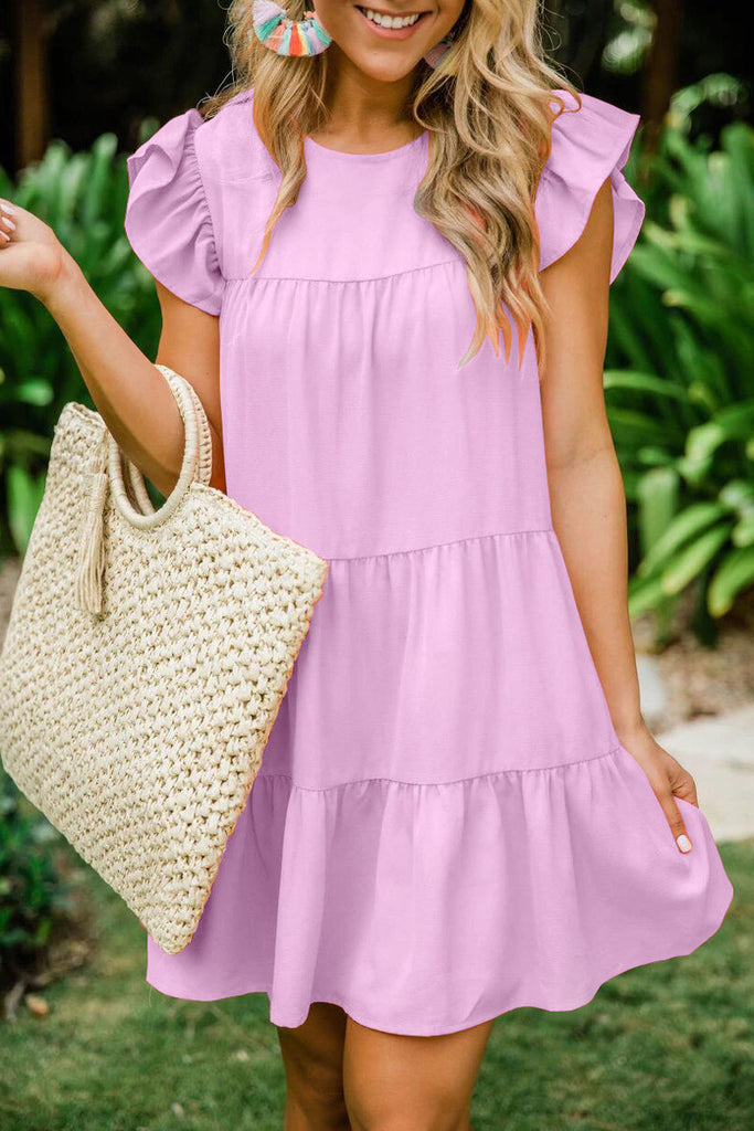 Solid Color Ruffle Pleated Mini Dress