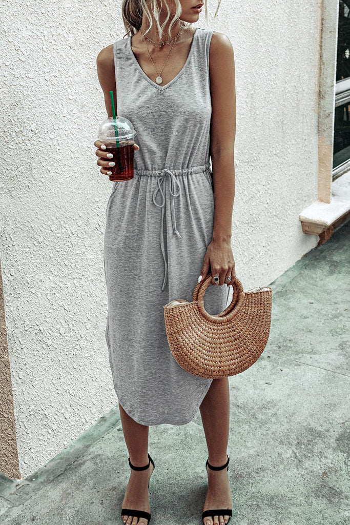 Solid V-Neck Drawstring Sleeveless Midi Dress