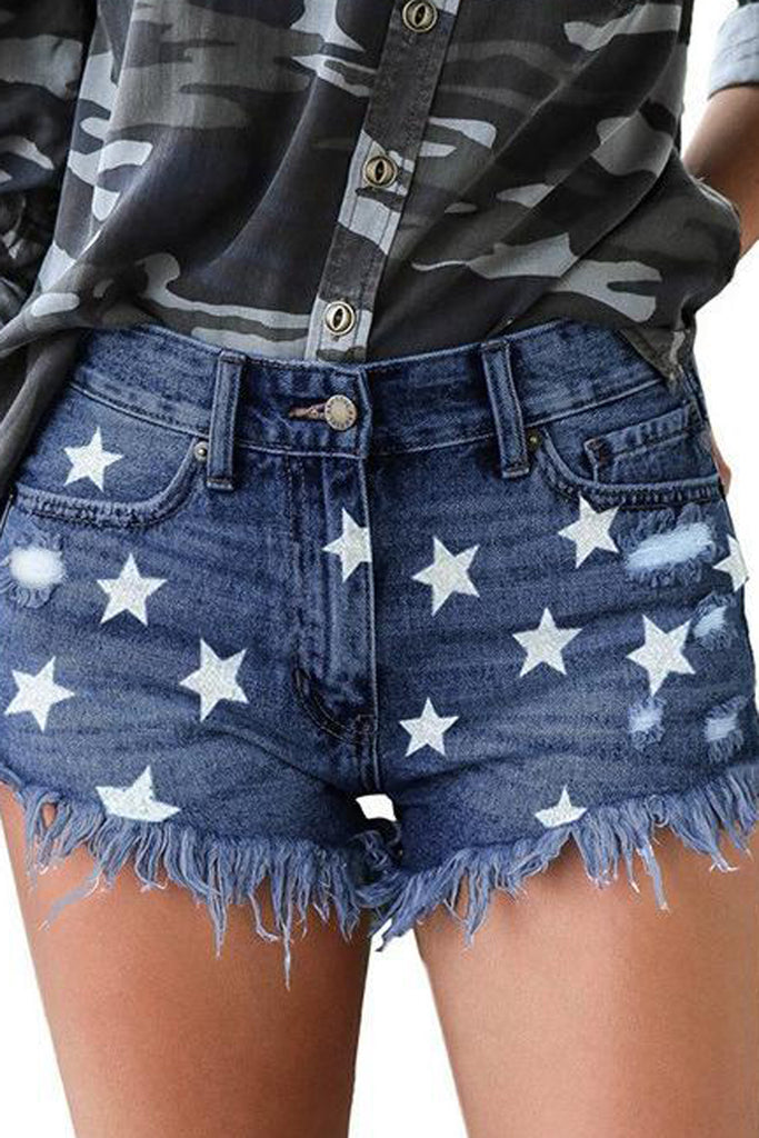 Star Printed Tassel Denim Hole Shorts