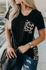 Printed Irregular V-Neck Pocket T-Shirt