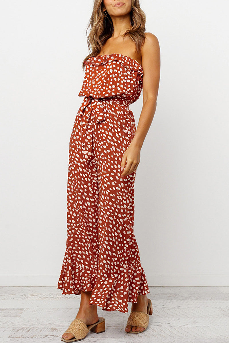 Printed Ruffle Belted Sleeveless Jumpsuit