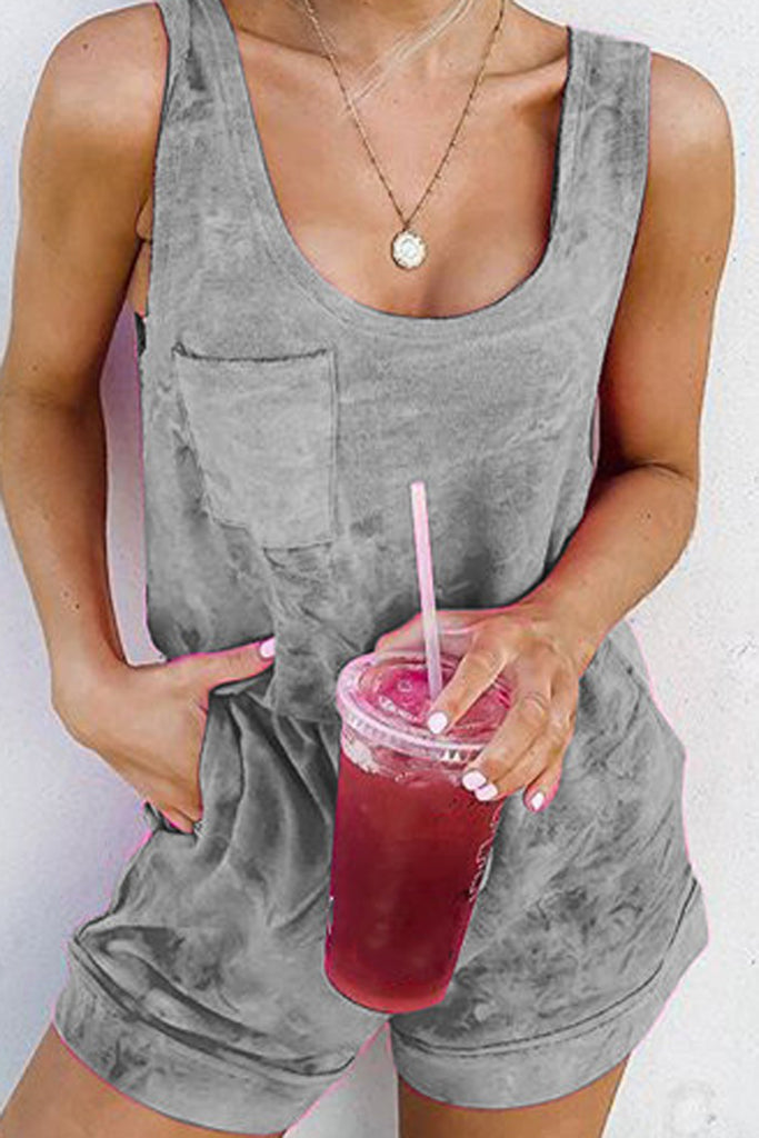 Tie Dye Round Neck Pocket Romper