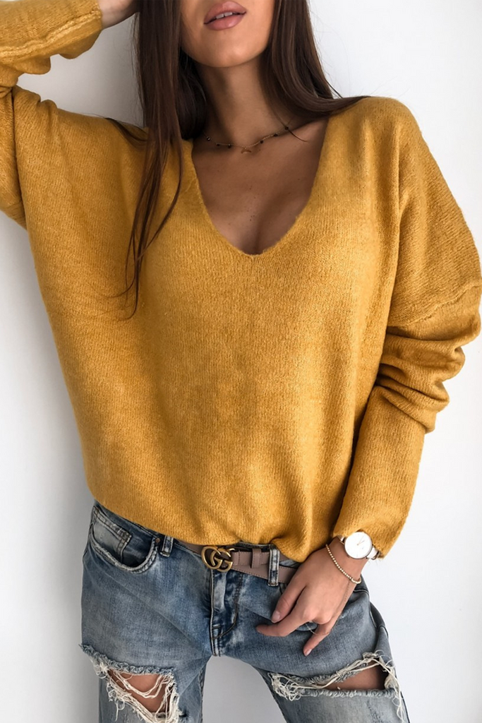 V-Neck Solid Casual Sweater