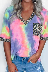 Tie Dye Leopard Print V Neck Pocket T-Shirt