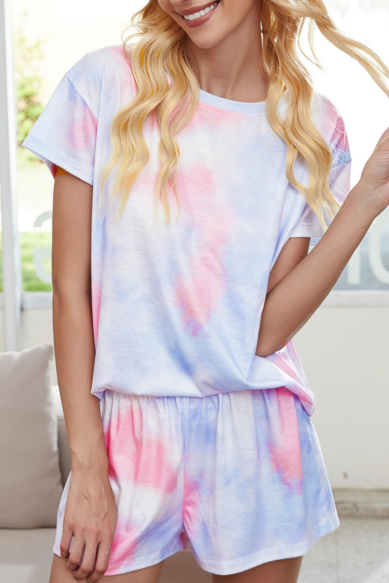 Tie Dye Short Sleeve Two Pieces Sets
