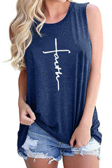 Letter Printed Round Neck Tank Top