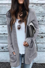 Knitted Double Pockets Cardigan