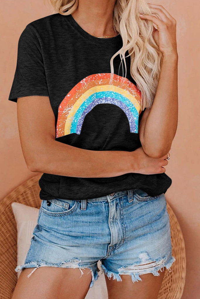 Rainbow Printed Plus Size T-Shirt