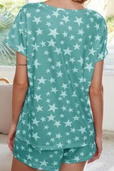 Star Printed Short Sleeve Two Pieces Sets