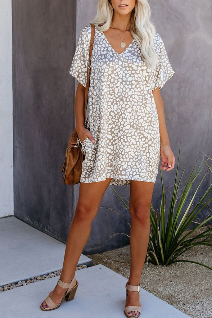 Leopard Printed Pocket Mini Dress