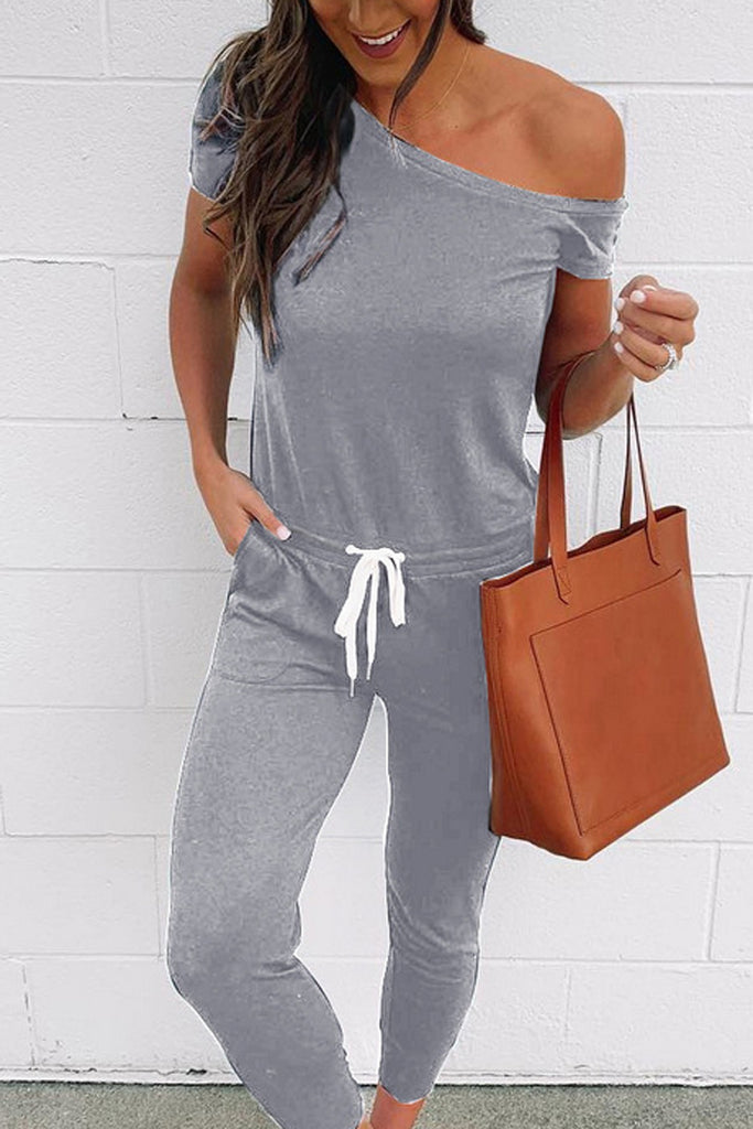 Skew Neck Solid Drawstring Waist Jumpsuits