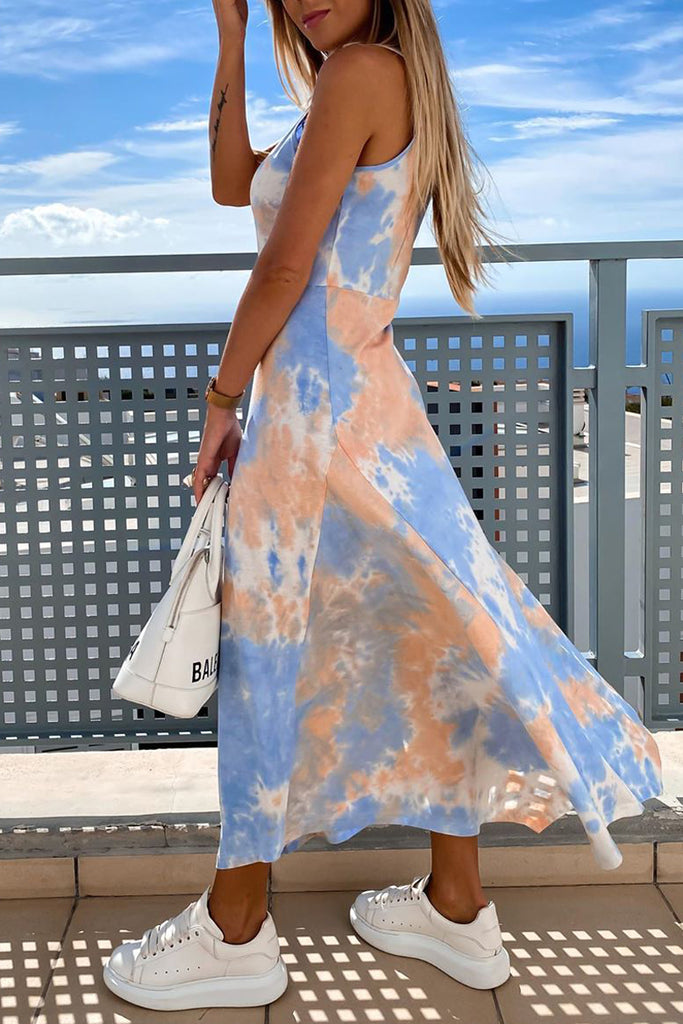 Side Slit Tie Dye Irregular Maxi Dress