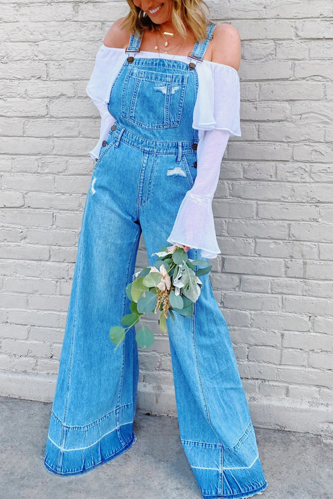 Denim High Waist Wide Leg Jumpsuit