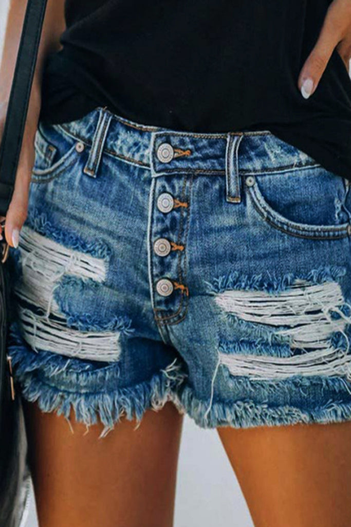 Denim Printed Hole Distressed Button Shorts