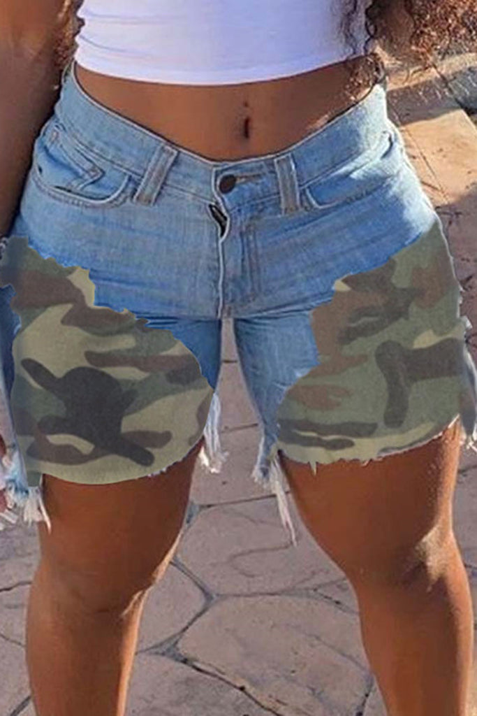 Camouflage Patchwork Tassel Plus Size Shorts