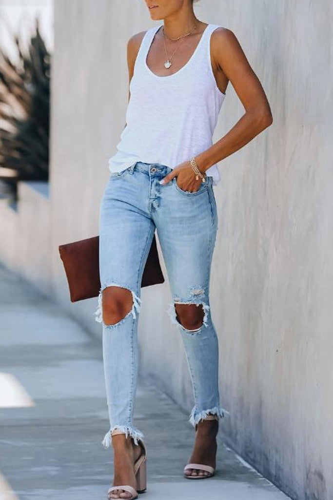 Denim Hole Distressed Tassel Jeans