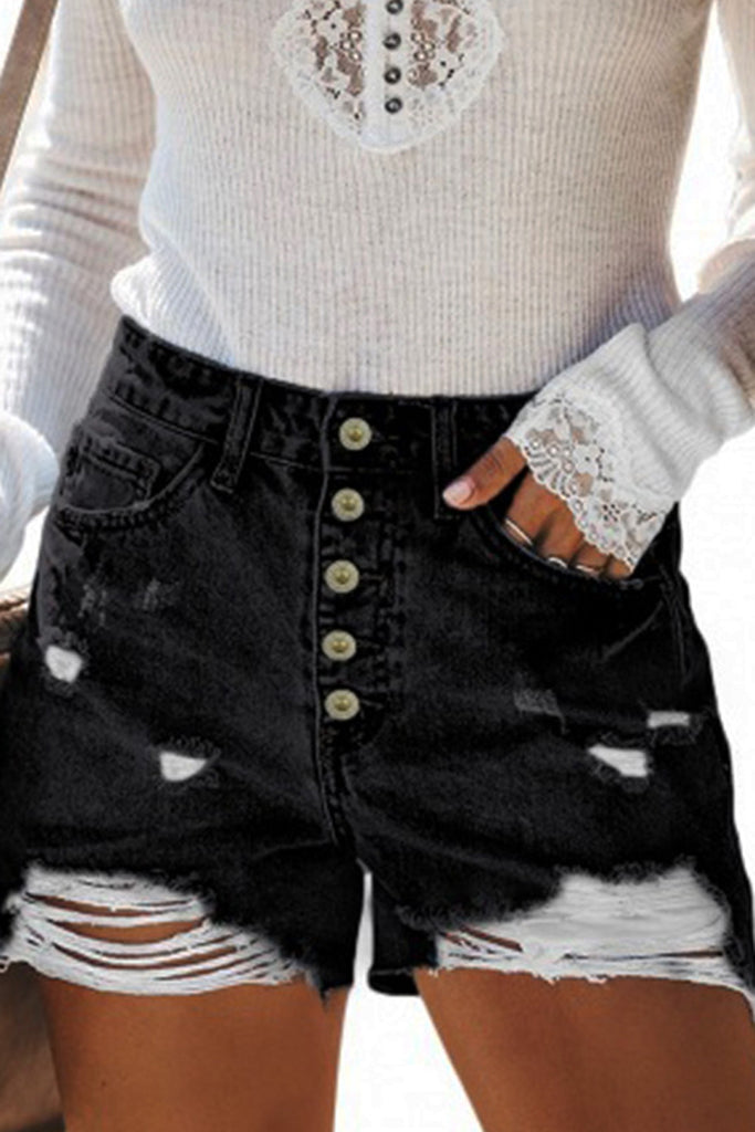 High Waist Pocket Hole Button Shorts