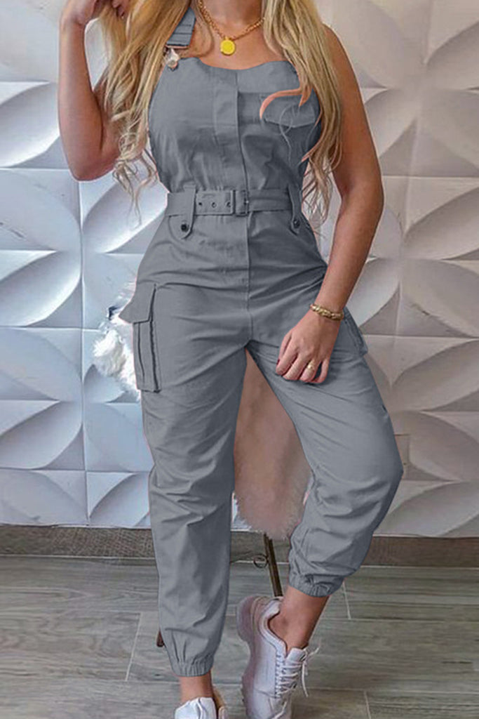 Halter High Waist Belted Pocket Jumpsuits