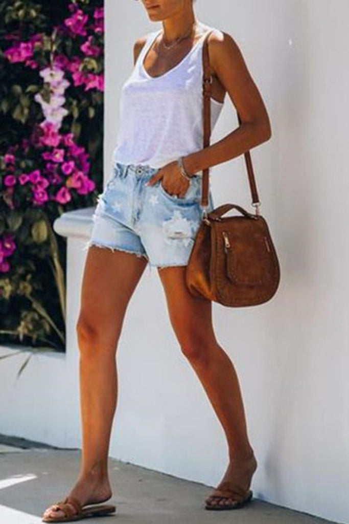 Star Printed Denim Hole Distressed Shorts