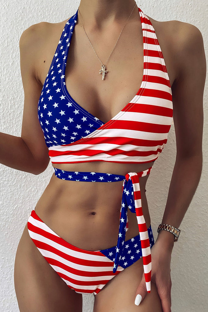 American Flag Printed Hang Neck Bikini